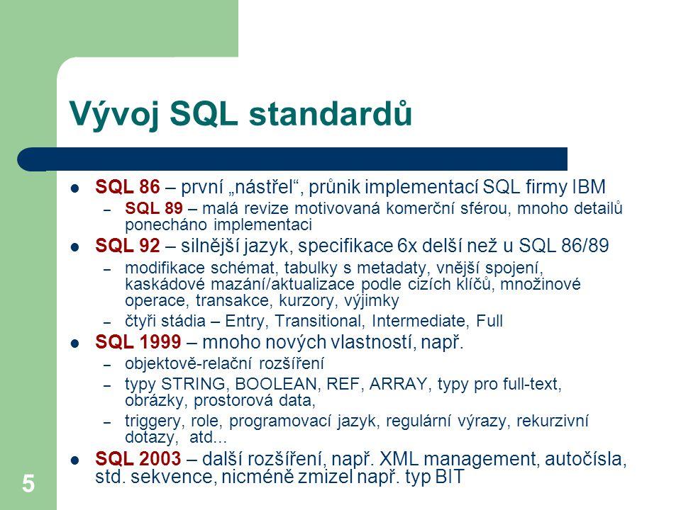 """Vývoj SQL standardů SQL 86 – první """"nástřel , průnik implementací SQL firmy IBM."""