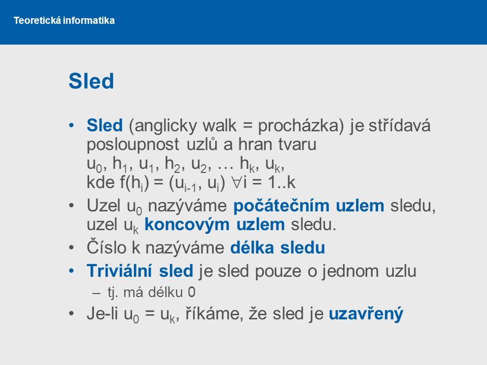 Sled Sled (anglicky walk = procházka) je střídavá posloupnost uzlů a hran tvaru u0, h1, u1, h2, u2, … hk, uk, kde f(hi) = (ui-1, ui) i = 1..k.