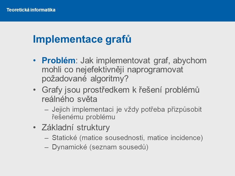 Implementace grafů Problém: Jak implementovat graf, abychom mohli co nejefektivněji naprogramovat požadované algoritmy