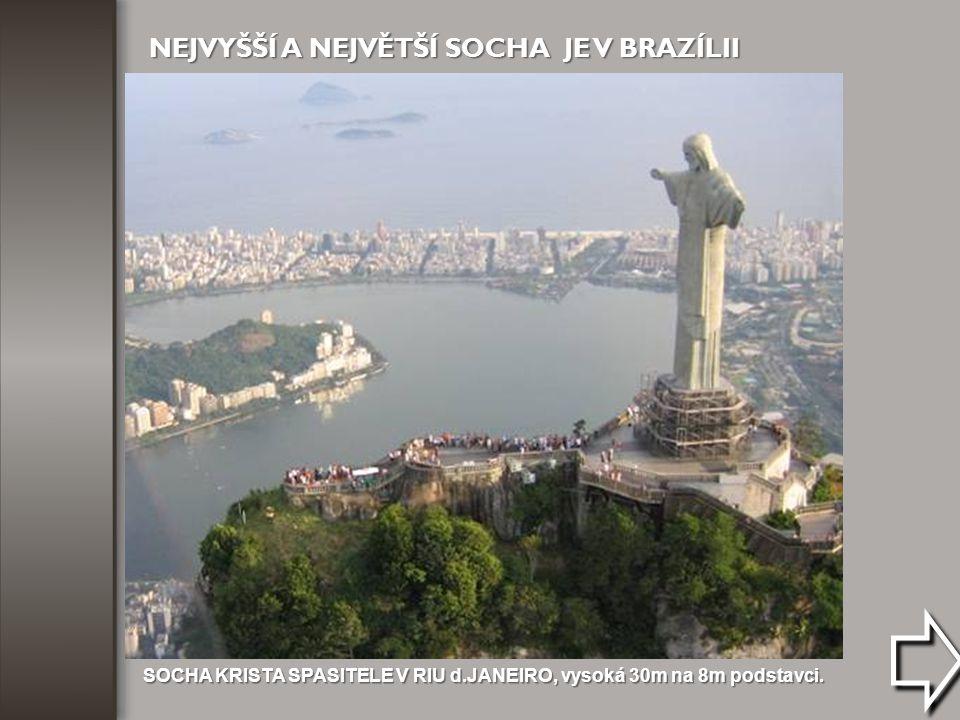 SOCHA KRISTA SPASITELE V RIU d.JANEIRO, vysoká 30m na 8m podstavci.