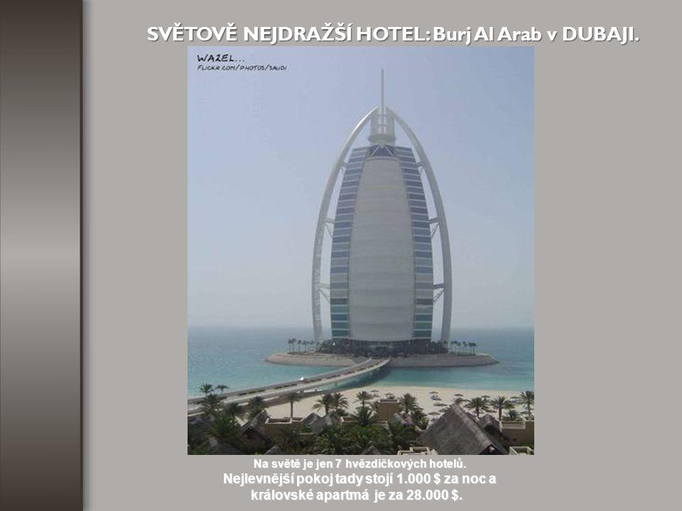 SVĚTOVĚ NEJDRAŽŠÍ HOTEL: Burj Al Arab v DUBAJI.
