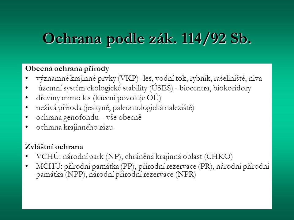 Ochrana podle zák. 114/92 Sb. Obecná ochrana přírody