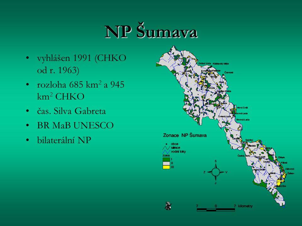 NP Šumava vyhlášen 1991 (CHKO od r. 1963)