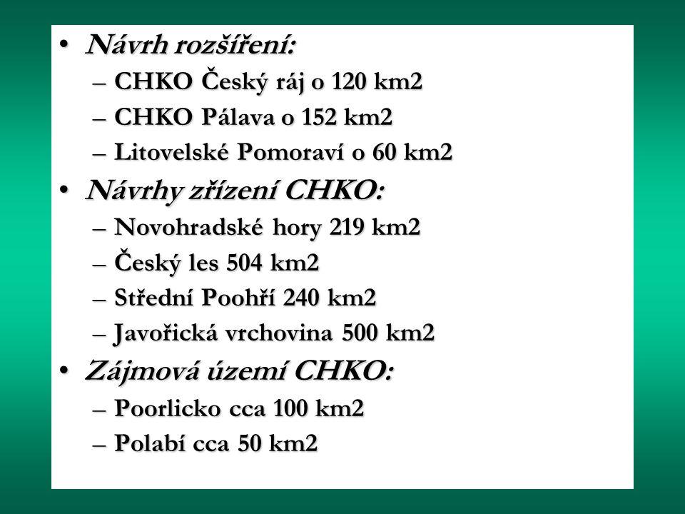 Návrh rozšíření: Návrhy zřízení CHKO: Zájmová území CHKO: