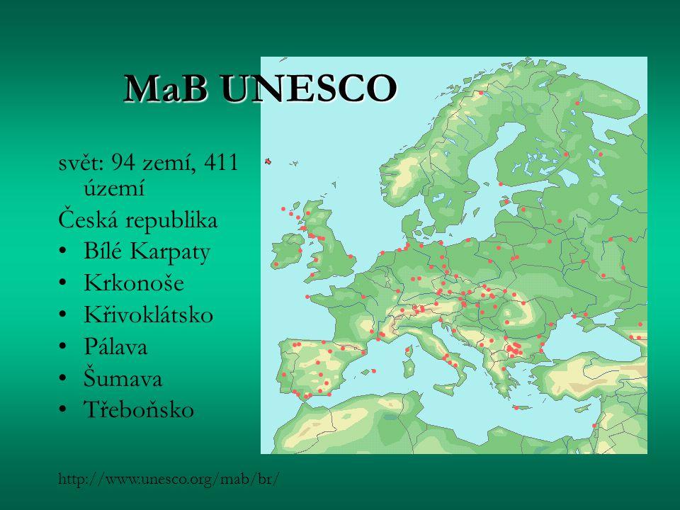 MaB UNESCO svět: 94 zemí, 411 území Česká republika Bílé Karpaty