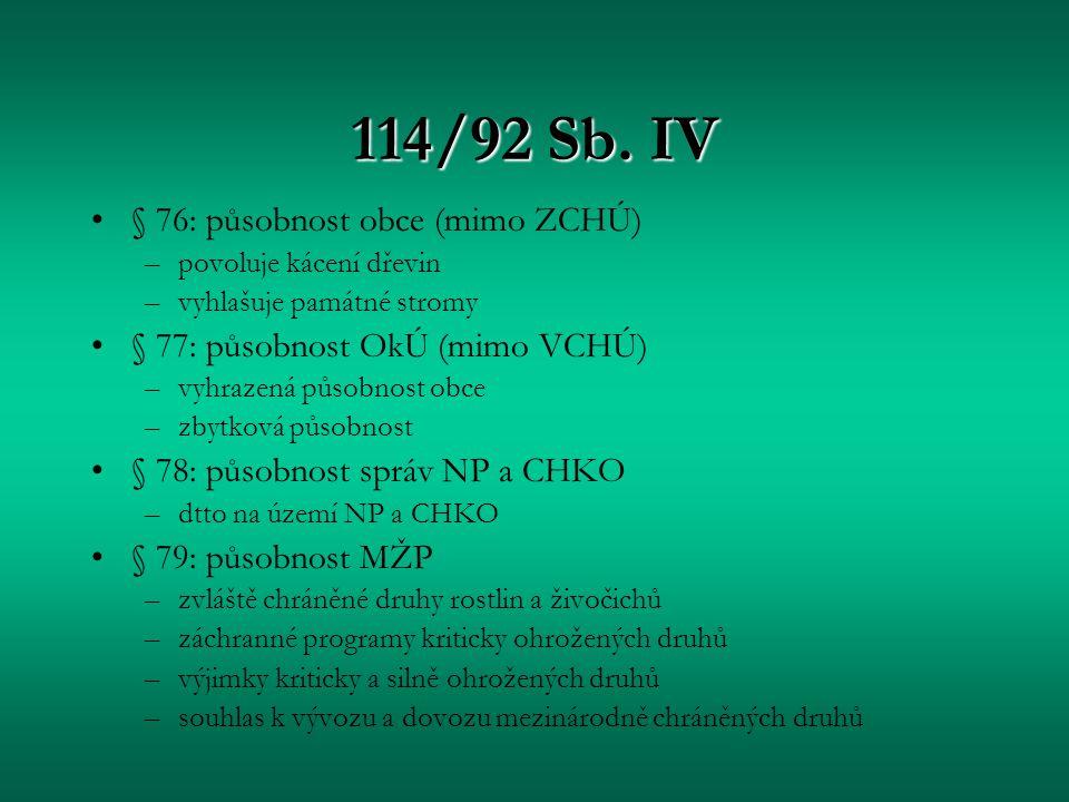 114/92 Sb. IV § 76: působnost obce (mimo ZCHÚ)