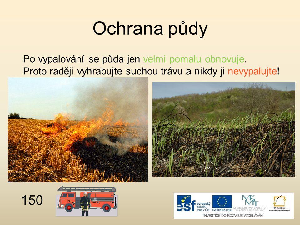 Ochrana půdy 150 Po vypalování se půda jen velmi pomalu obnovuje.