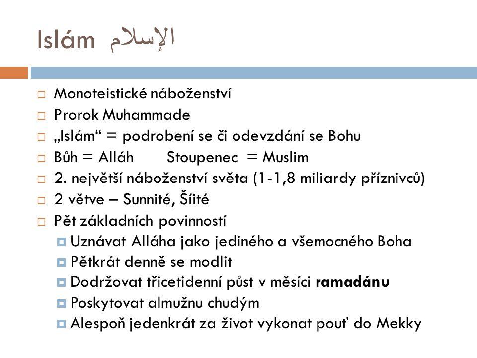 Islám الإسلام Monoteistické náboženství Prorok Muhammade