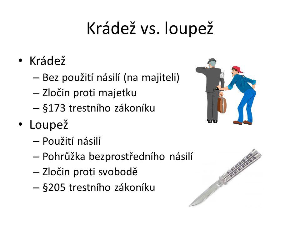 Krádež vs. loupež Krádež Loupež Bez použití násilí (na majiteli)