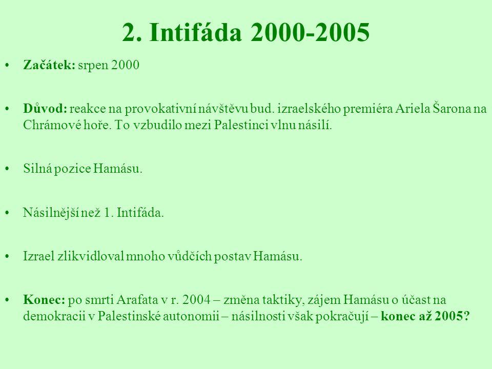 2. Intifáda 2000-2005 Začátek: srpen 2000