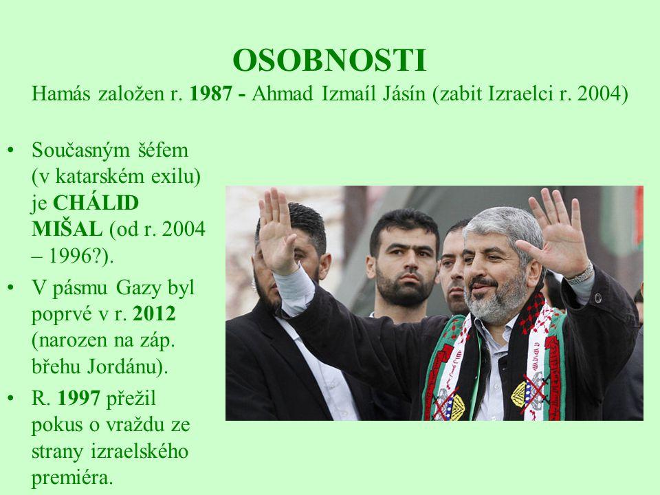 OSOBNOSTI Hamás založen r. 1987 - Ahmad Izmaíl Jásín (zabit Izraelci r