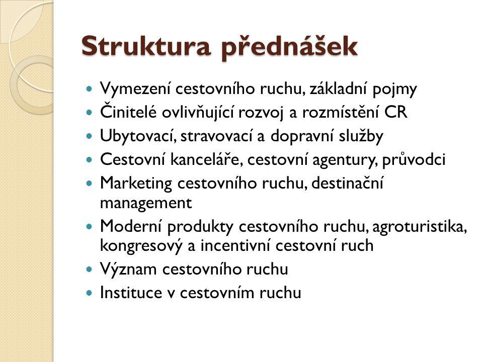 Struktura přednášek Vymezení cestovního ruchu, základní pojmy
