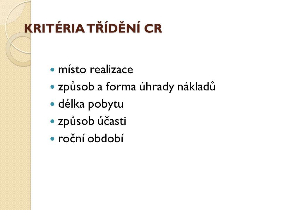 KRITÉRIA TŘÍDĚNÍ CR místo realizace. způsob a forma úhrady nákladů. délka pobytu. způsob účasti.