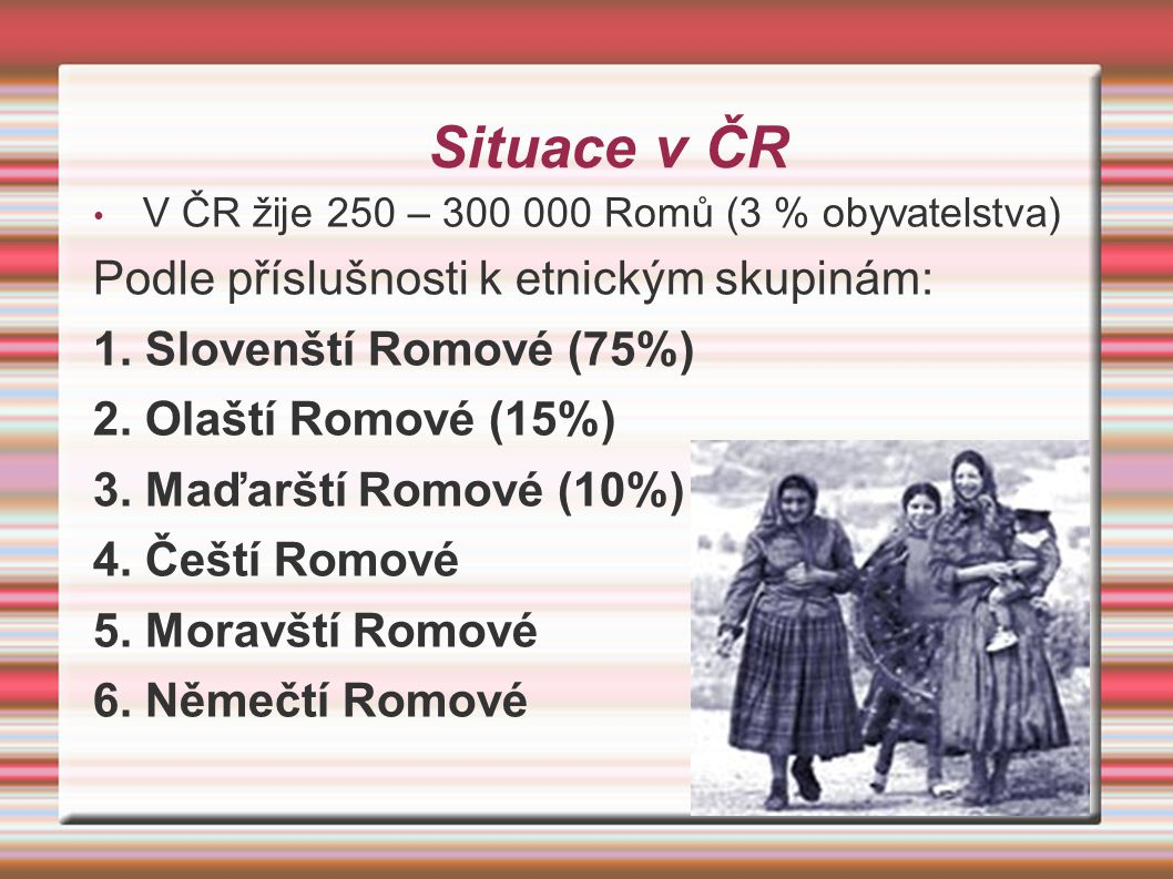Situace v ČR Podle příslušnosti k etnickým skupinám: