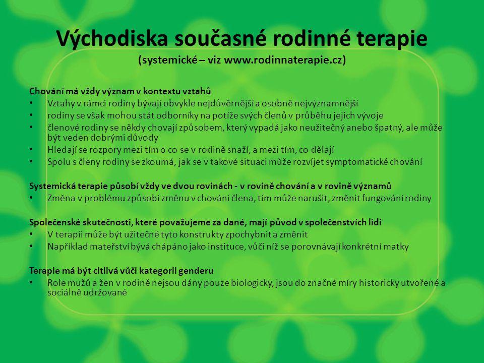 Východiska současné rodinné terapie (systemické – viz www