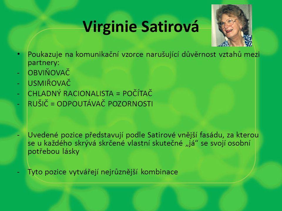 Virginie Satirová Poukazuje na komunikační vzorce narušující důvěrnost vztahů mezi partnery: OBVIŇOVAČ.