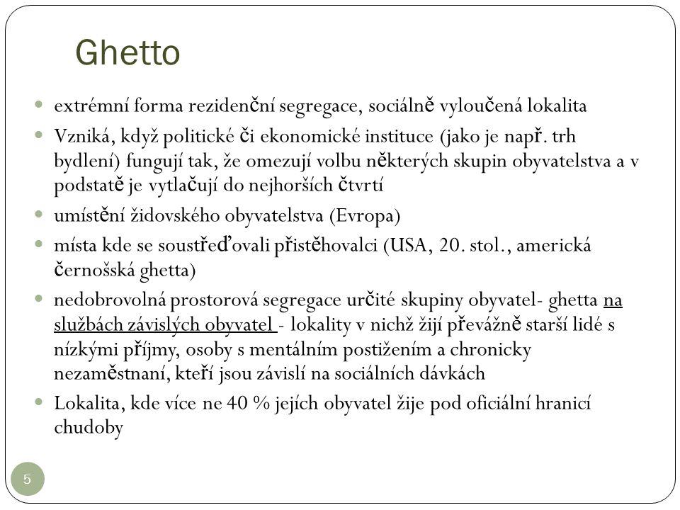 Ghetto extrémní forma rezidenční segregace, sociálně vyloučená lokalita.