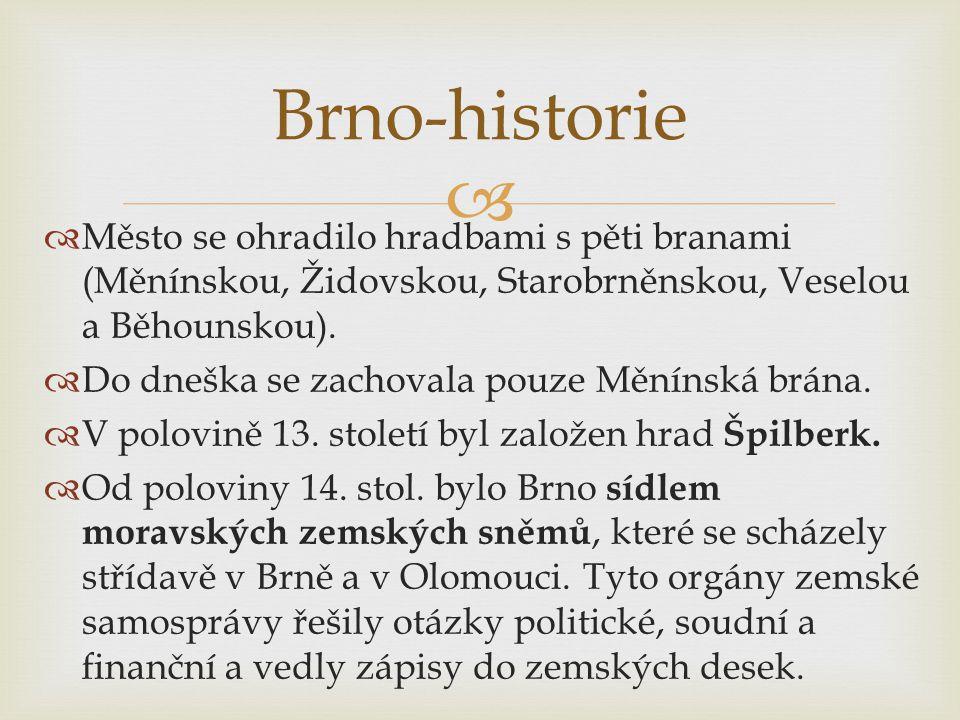 Brno-historie Město se ohradilo hradbami s pěti branami (Měnínskou, Židovskou, Starobrněnskou, Veselou a Běhounskou).
