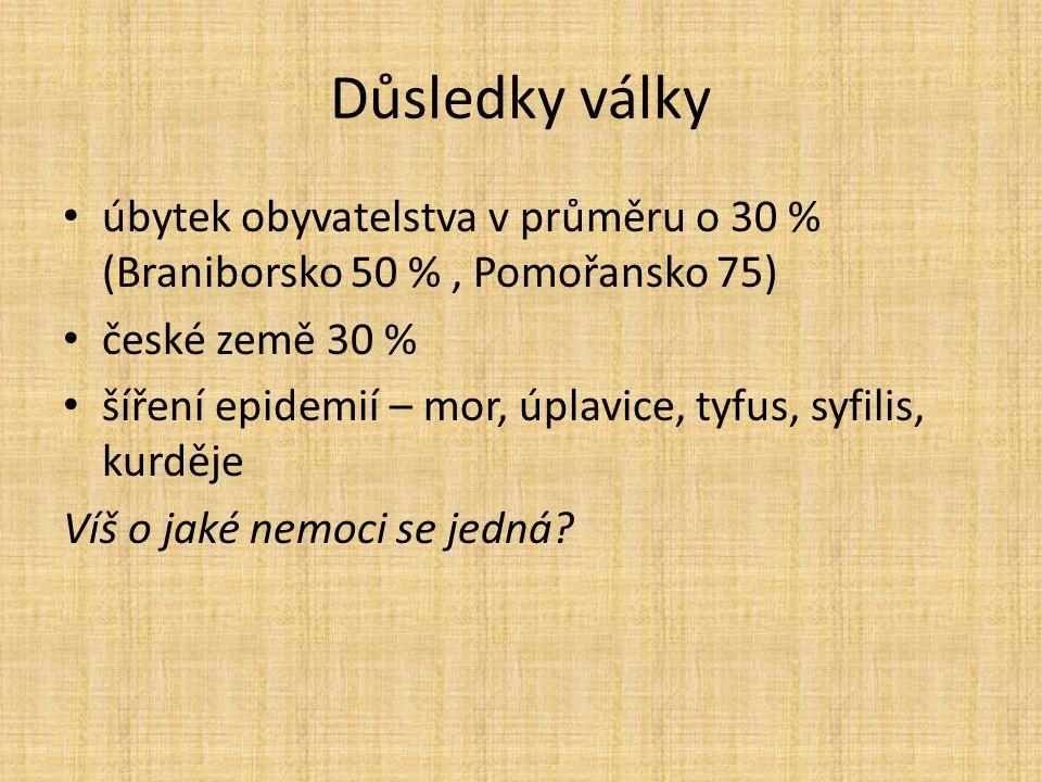 Důsledky války úbytek obyvatelstva v průměru o 30 % (Braniborsko 50 % , Pomořansko 75) české země 30 %