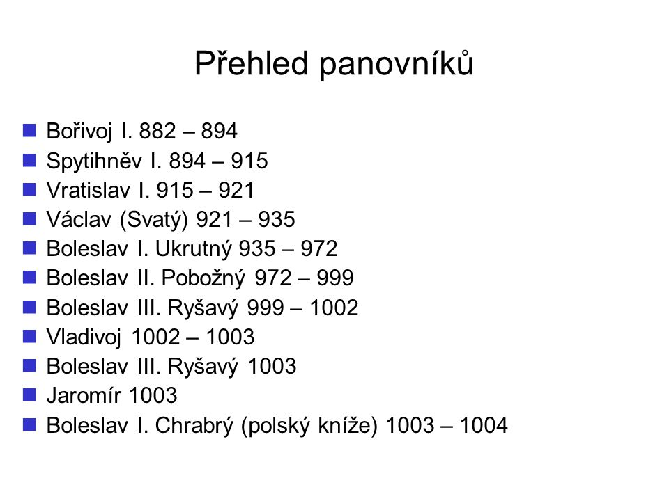 Přehled panovníků Bořivoj I. 882 – 894 Spytihněv I. 894 – 915