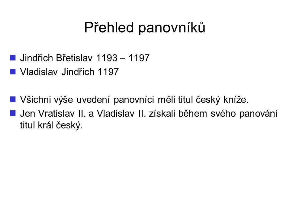 Přehled panovníků Jindřich Břetislav 1193 – 1197