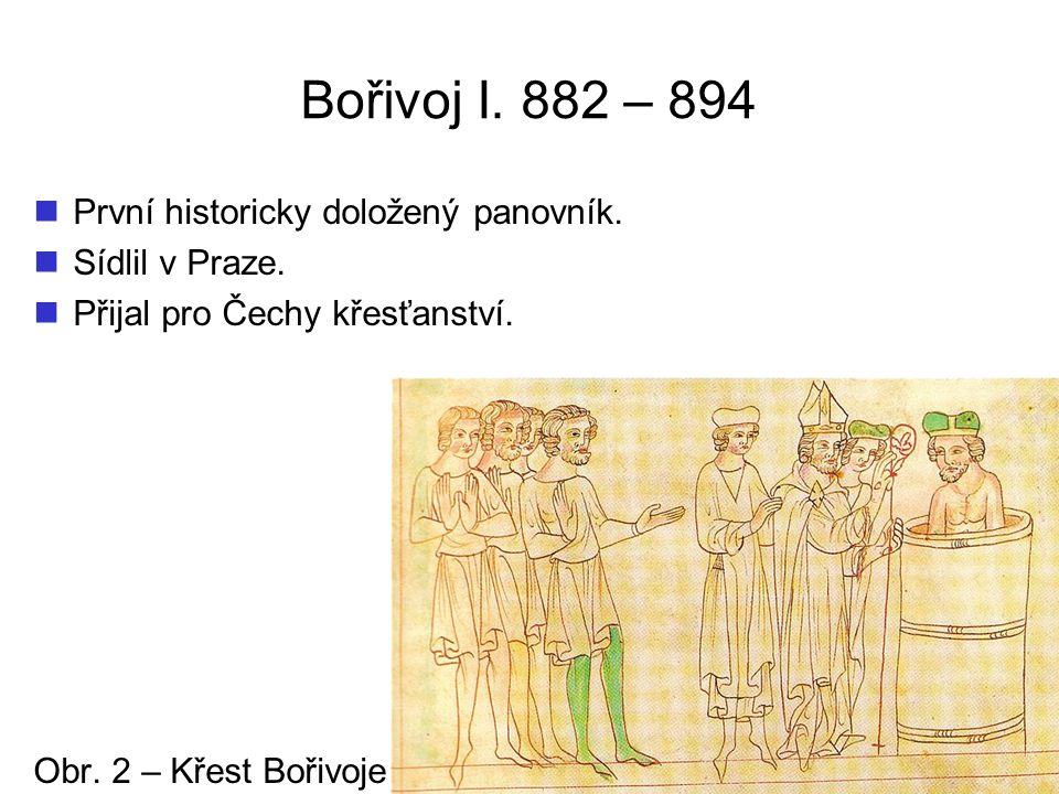 Bořivoj I. 882 – 894 První historicky doložený panovník.