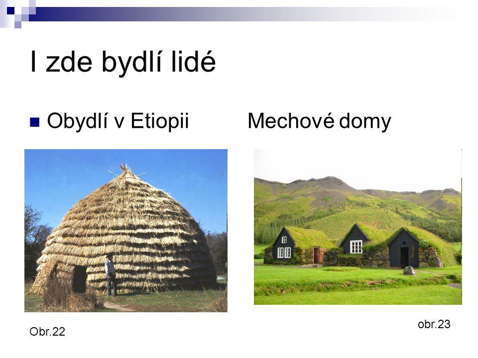 I zde bydlí lidé Obydlí v Etiopii Mechové domy obr.23 Obr.22