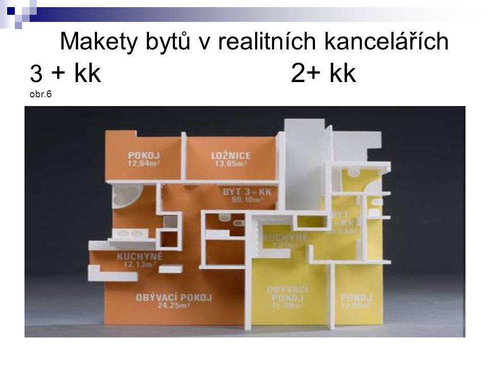 Makety bytů v realitních kancelářích 3 + kk 2+ kk obr.6