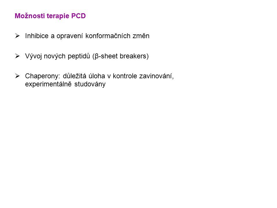 Možnosti terapie PCD Inhibice a opravení konformačních změn. Vývoj nových peptidů (β-sheet breakers)