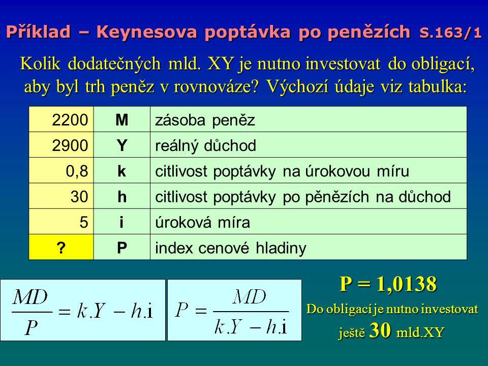 P = 1,0138 Do obligací je nutno investovat ještě 30 mld.XY
