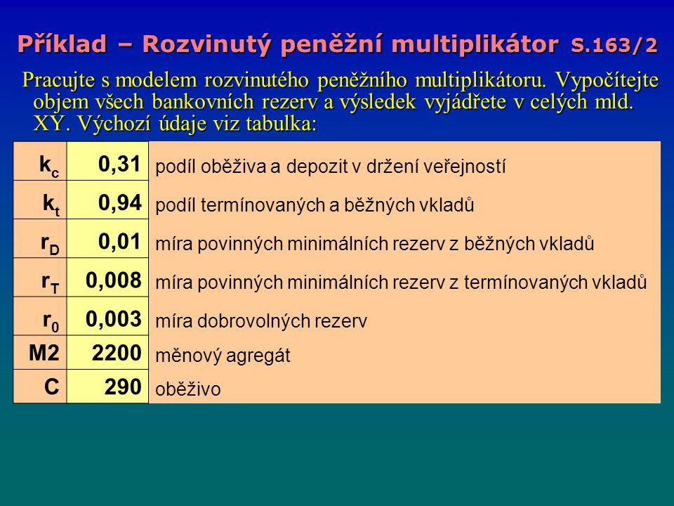 Příklad – Rozvinutý peněžní multiplikátor S.163/2