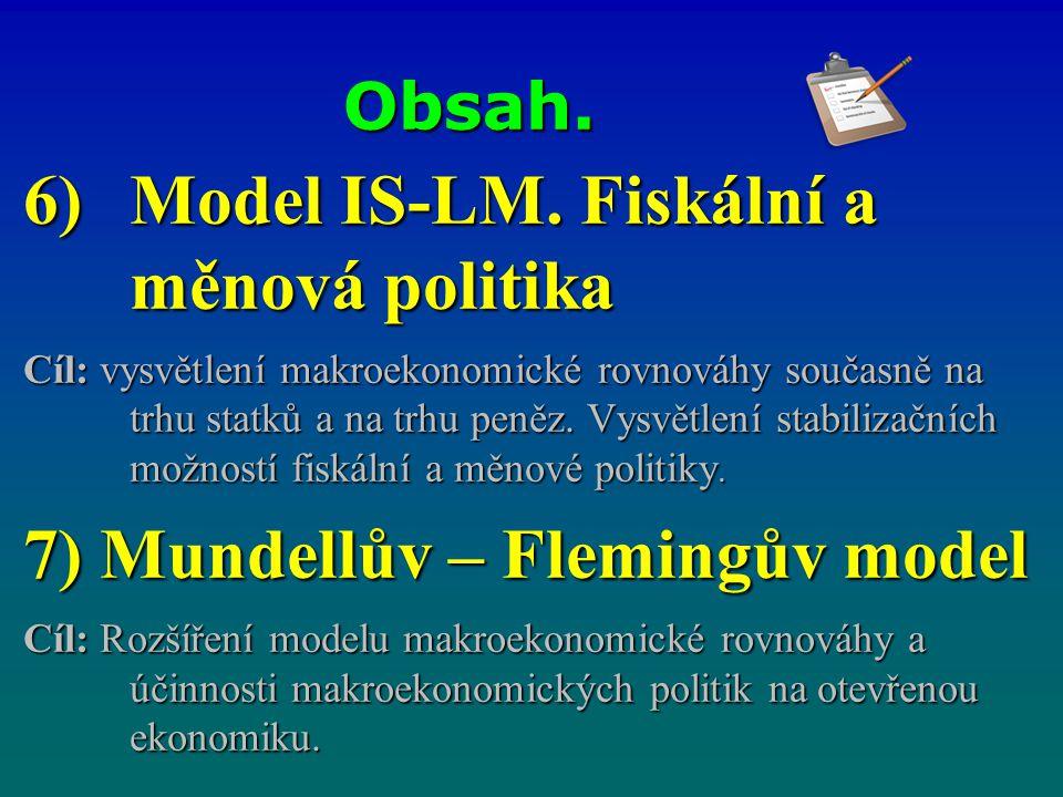 Model IS-LM. Fiskální a měnová politika
