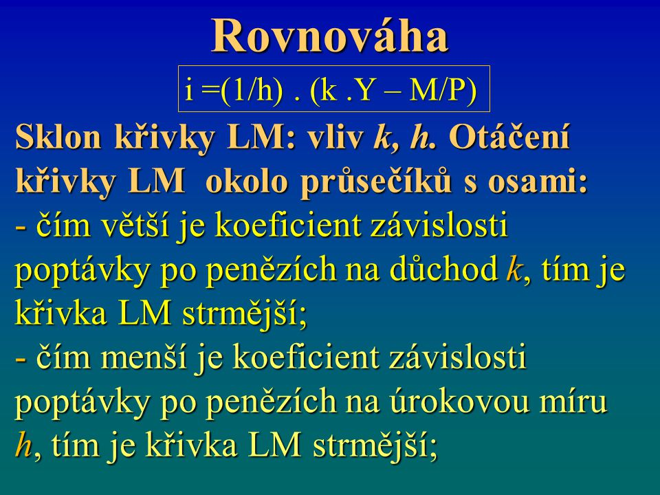 Rovnováha Sklon křivky LM: vliv k, h. Otáčení křivky LM okolo průsečíků s osami: