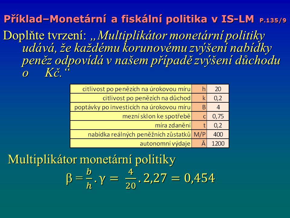 Příklad–Monetární a fiskální politika v IS-LM P.135/9