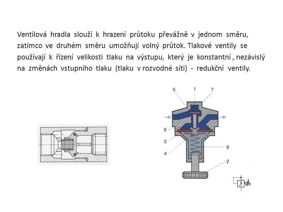 Ventilová hradla slouží k hrazení průtoku převážně v jednom směru, zatímco ve druhém směru umožňují volný průtok.