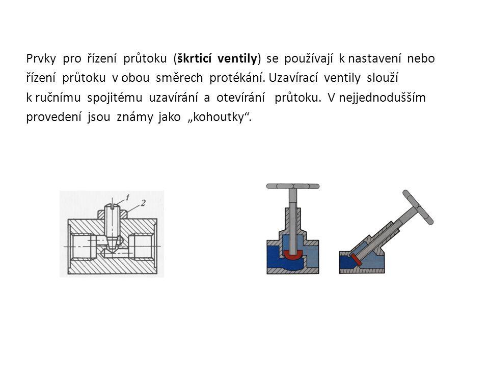 Prvky pro řízení průtoku (škrticí ventily) se používají k nastavení nebo řízení průtoku v obou směrech protékání.