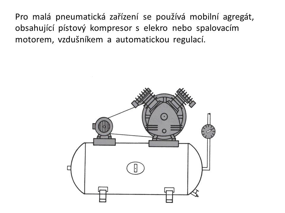 Pro malá pneumatická zařízení se používá mobilní agregát, obsahující pístový kompresor s elekro nebo spalovacím motorem, vzdušníkem a automatickou regulací.