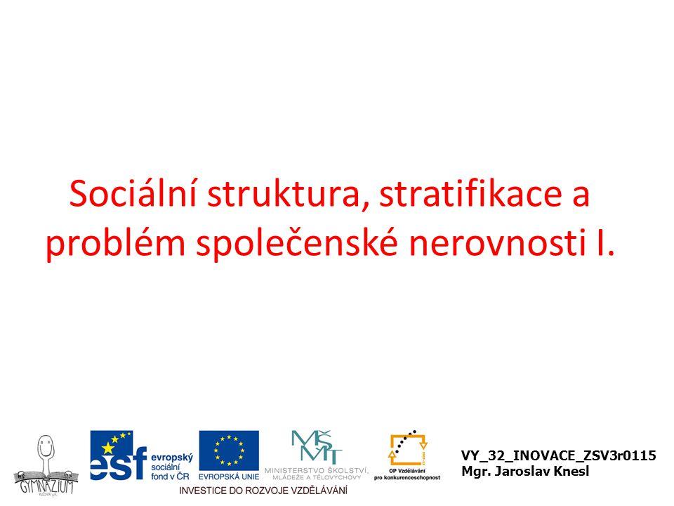 Sociální struktura, stratifikace a problém společenské nerovnosti I.