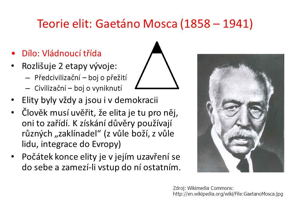 Teorie elit: Gaetáno Mosca (1858 – 1941)