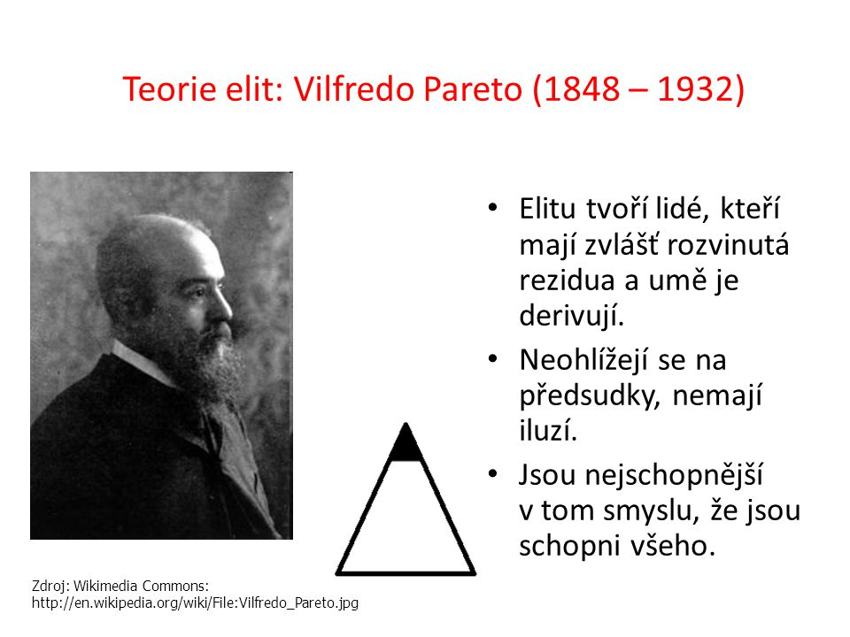 Teorie elit: Vilfredo Pareto (1848 – 1932)
