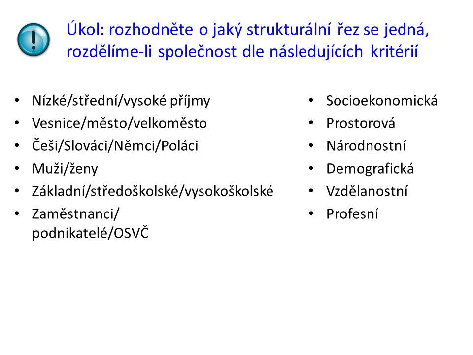 Úkol: rozhodněte o jaký strukturální řez se jedná, rozdělíme-li společnost dle následujících kritérií