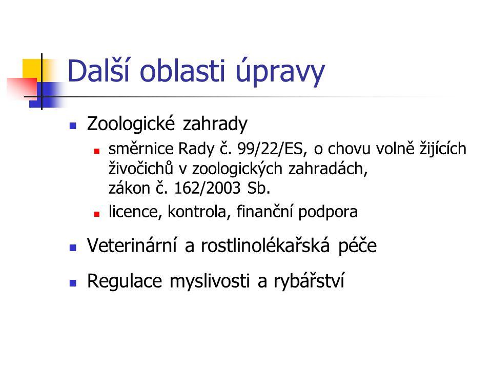 Další oblasti úpravy Zoologické zahrady