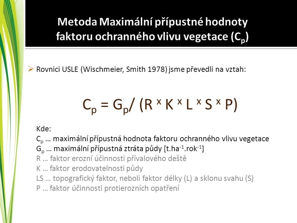 Metoda Maximální přípustné hodnoty faktoru ochranného vlivu vegetace (Cp)