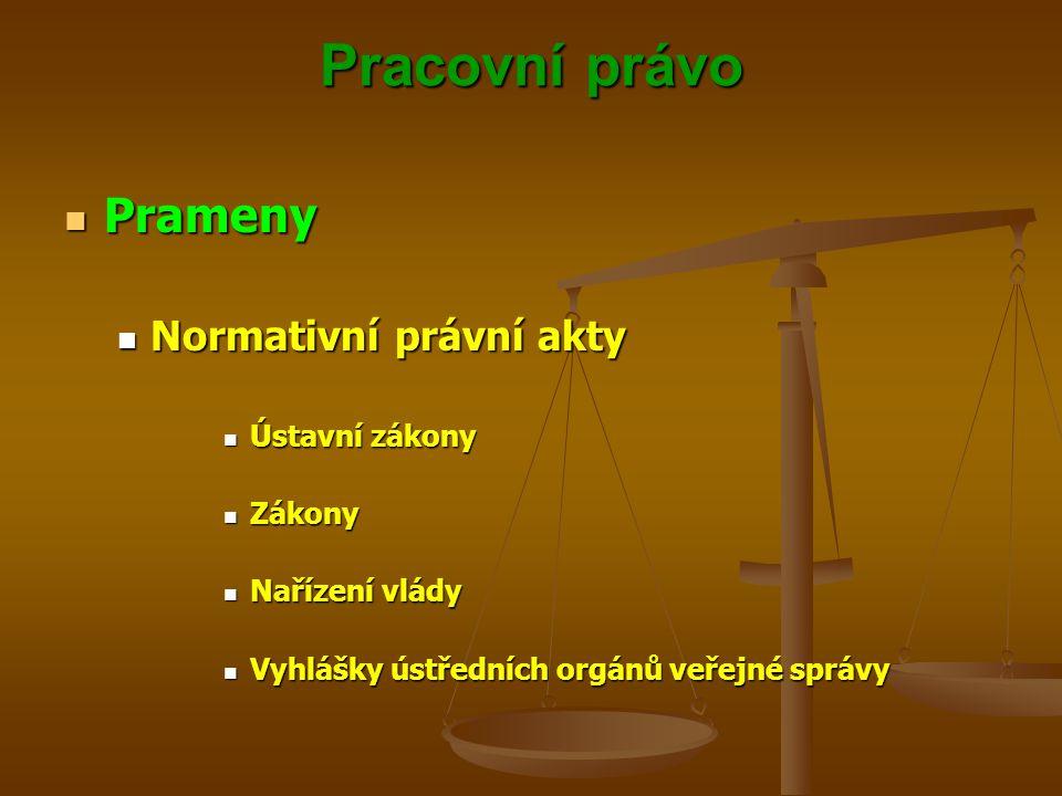 Pracovní právo Prameny Normativní právní akty Ústavní zákony Zákony