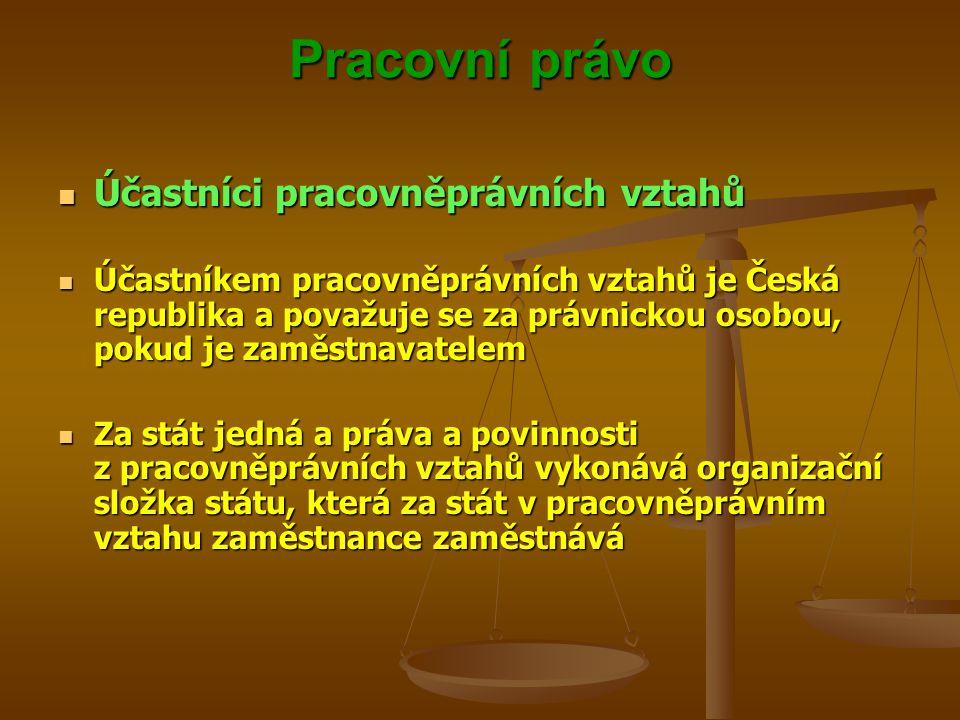 Pracovní právo Účastníci pracovněprávních vztahů