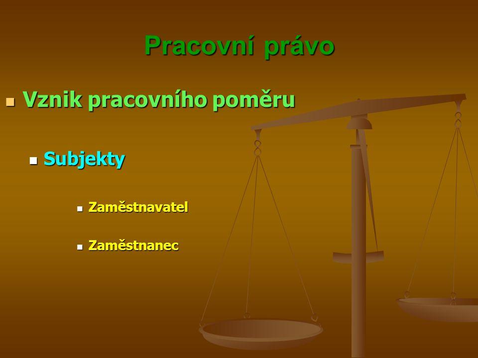 Pracovní právo Vznik pracovního poměru Subjekty Zaměstnavatel