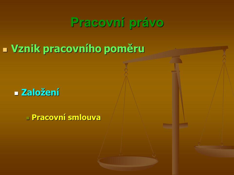 Pracovní právo Vznik pracovního poměru Založení Pracovní smlouva