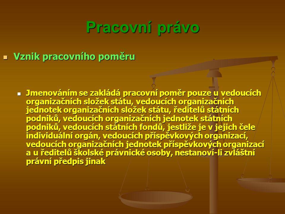 Pracovní právo Vznik pracovního poměru