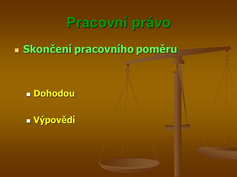 Pracovní právo Skončení pracovního poměru Dohodou Výpovědí