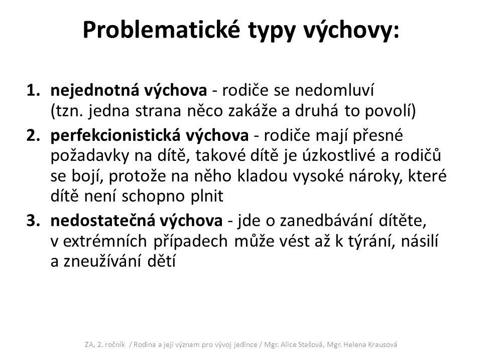 Problematické typy výchovy: